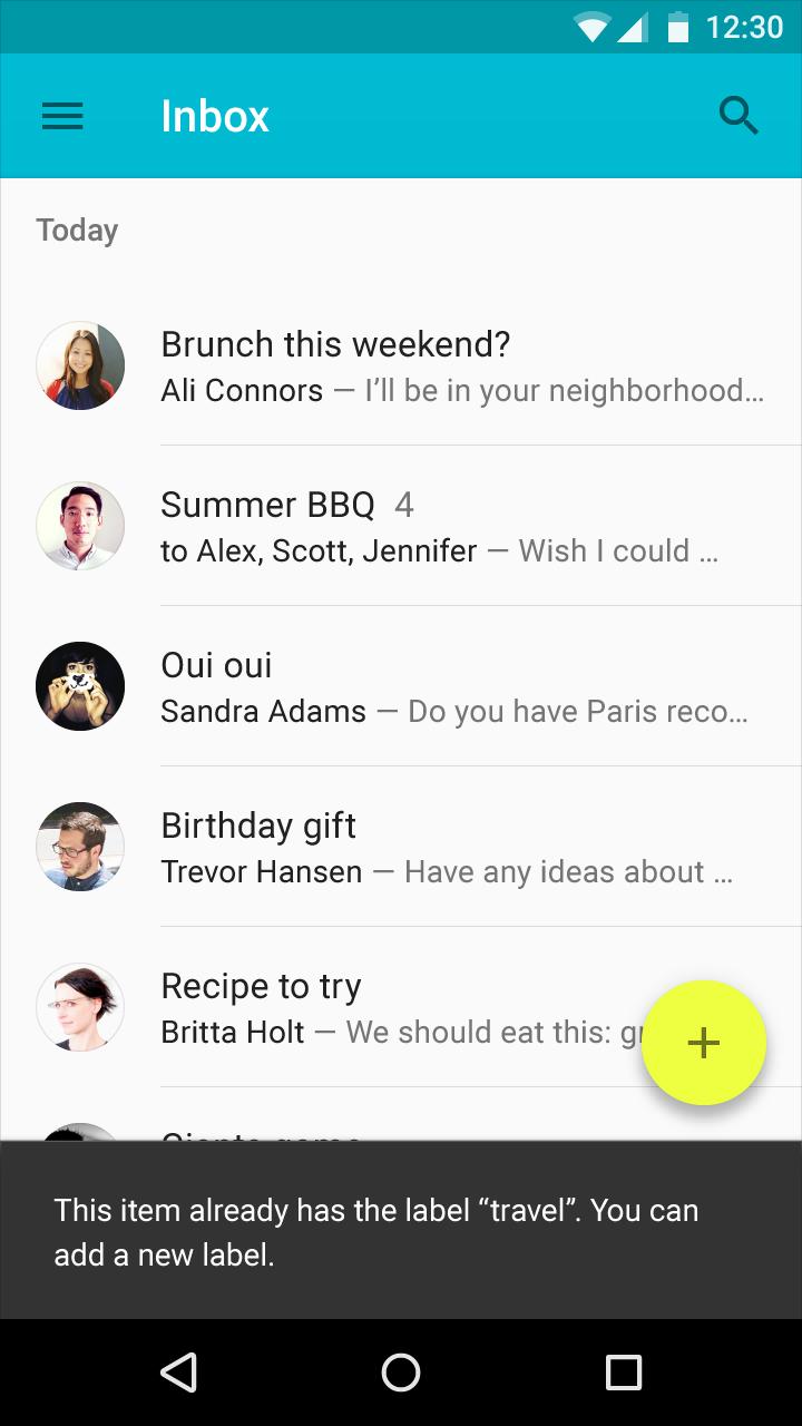 Snackbars & toasts - Components - Google design guidelines
