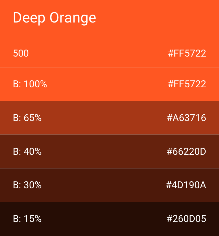 deep orange color palette